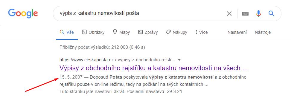 Výpis z KN v Google